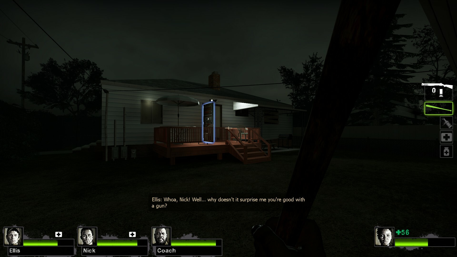 The last house players find is the safe house which will trigger the next level. Large glowing door helps player spot this easily in the dark as they're moving towards it.