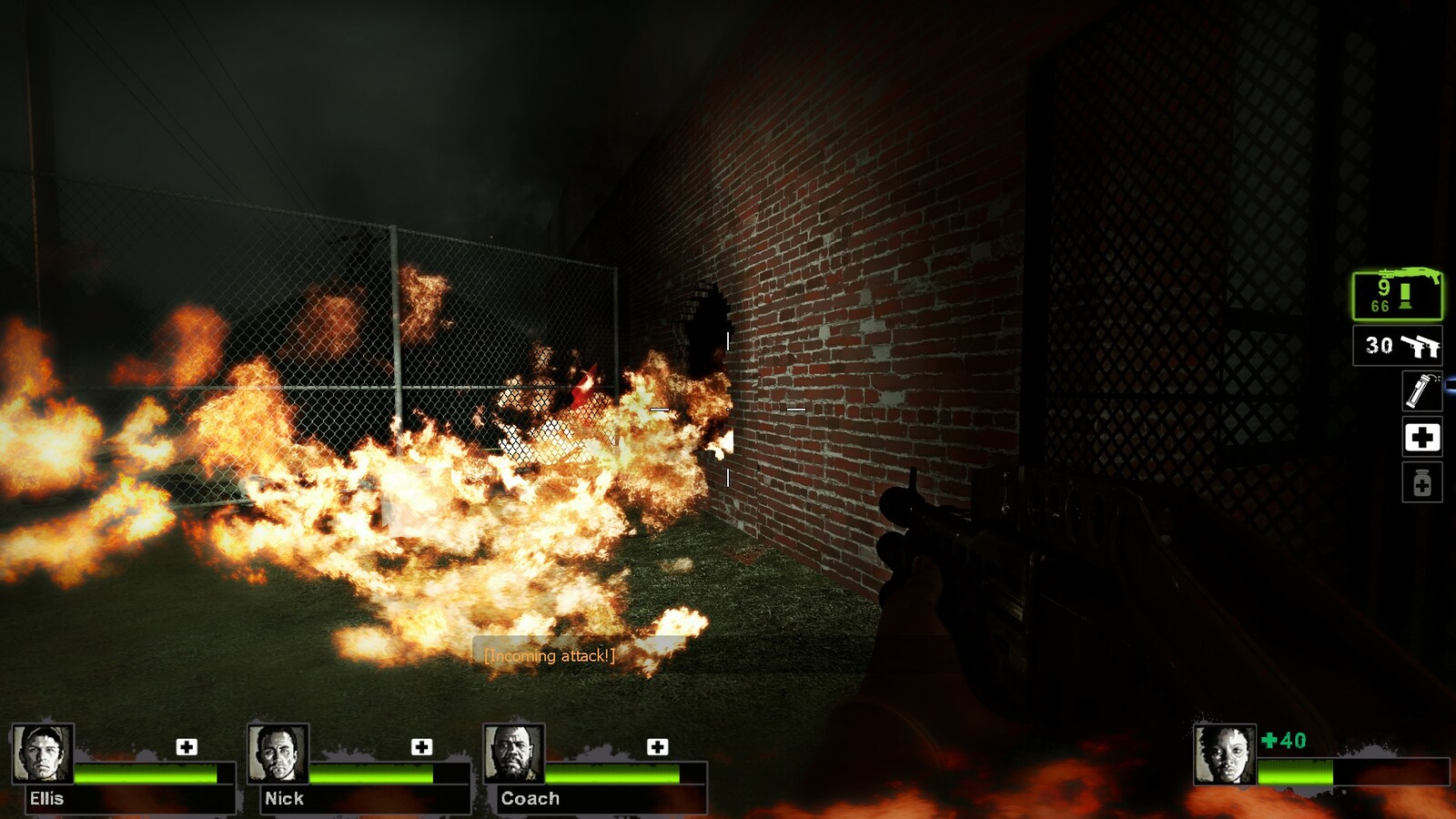 Shooting the barrels causes a fire and a horde of zombies to rush the player's position.