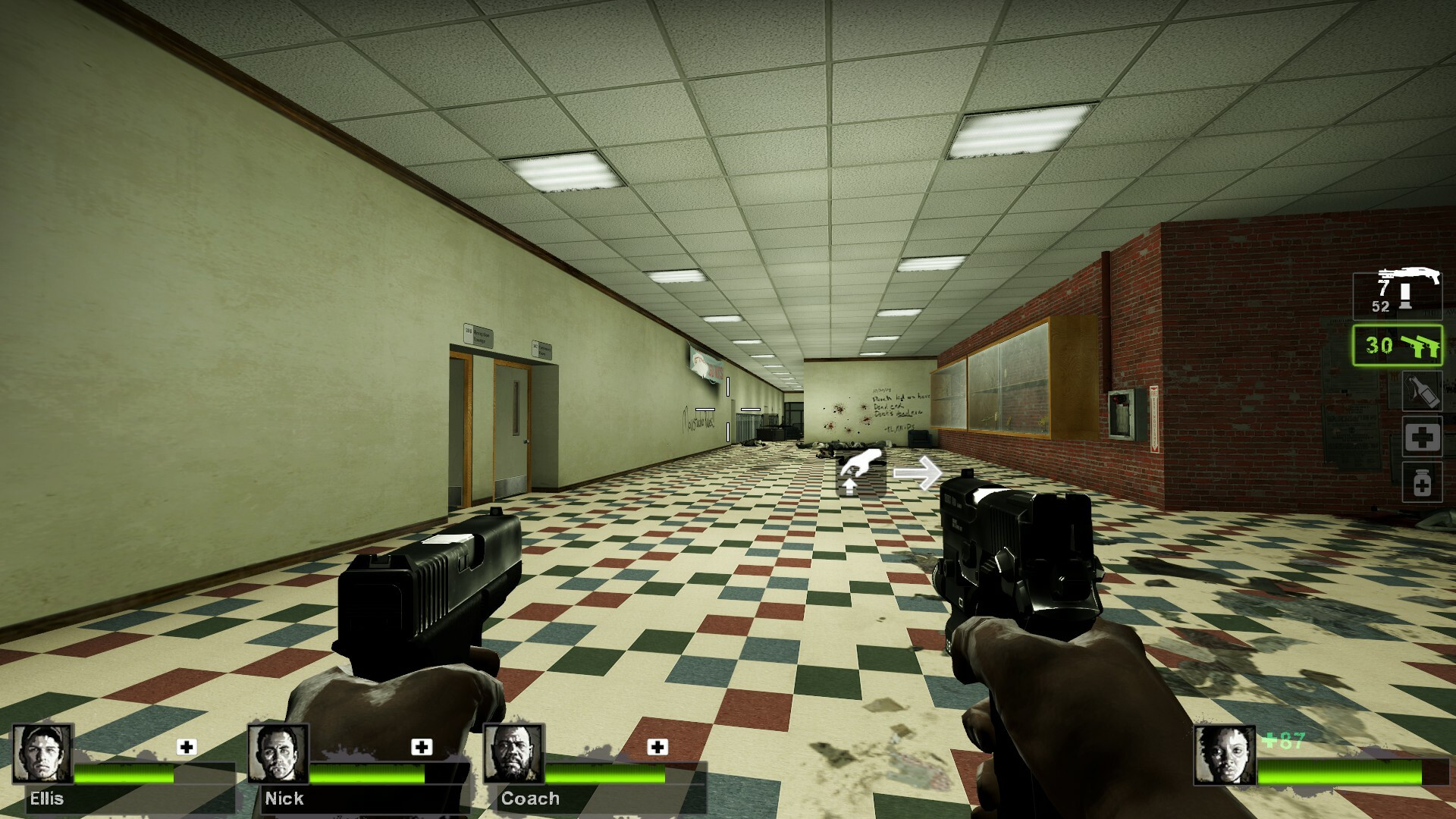 Inside the school building after the event. Players can explore the open rooms to find supplies. The lighting used here is make players feel safe, like they are now out of the dark and are free to explore.