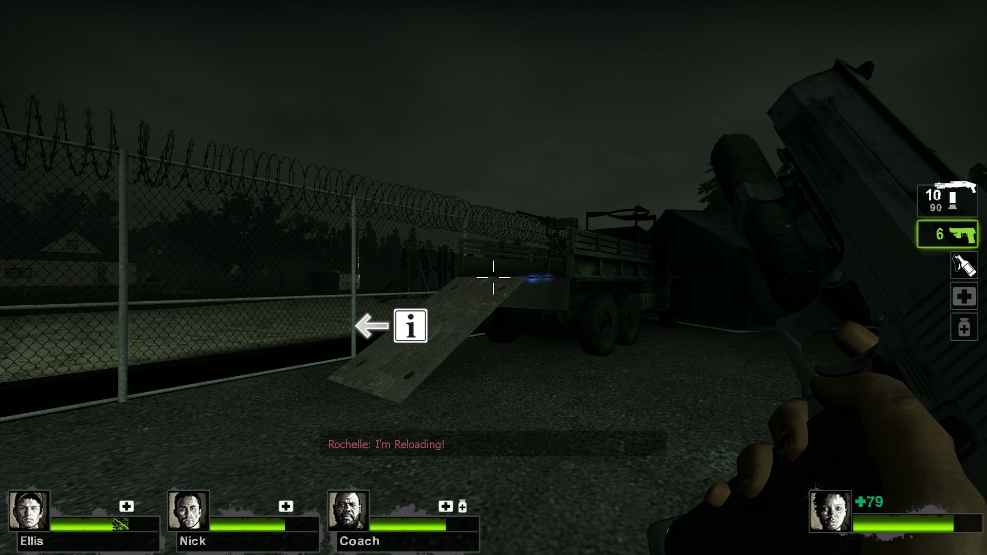 Players can use this mounted machine gun to cause the truck to explode, allowing players to move past the barricade.