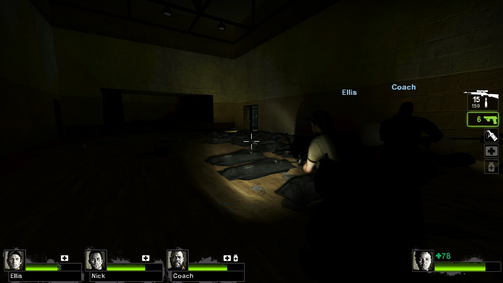 The next area after the barricade enforces the narrative of the school being used as a military outpost and being overrun by having corpses of soldiers piled up in the gym.