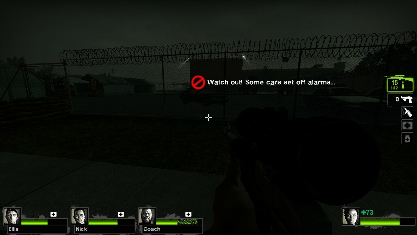 A horde event will only trigger here if players manage to shoot the cars on the other side of the fence.