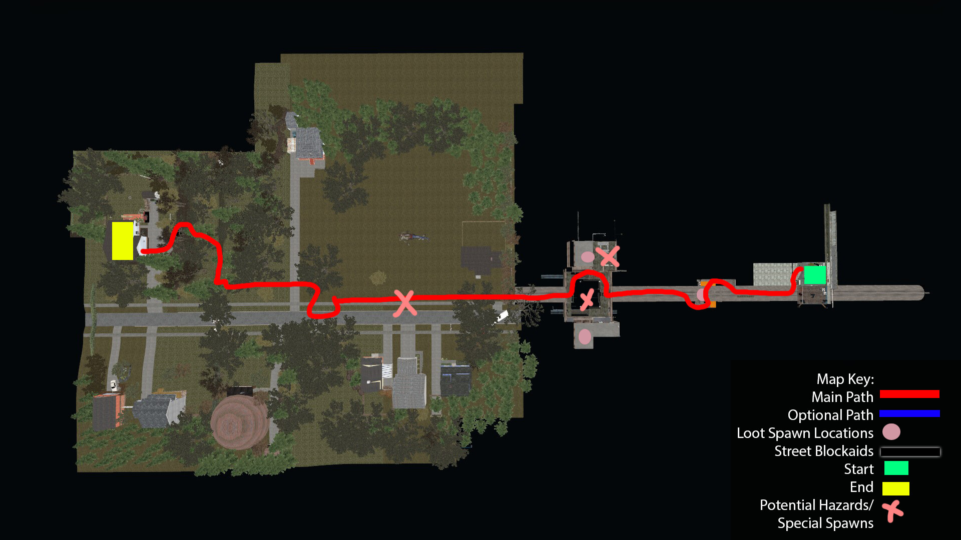 Top down view of the Sewer level. Players must follow the red path, this level is designed to be strictly linear with a few areas that move the player around to help break this up.