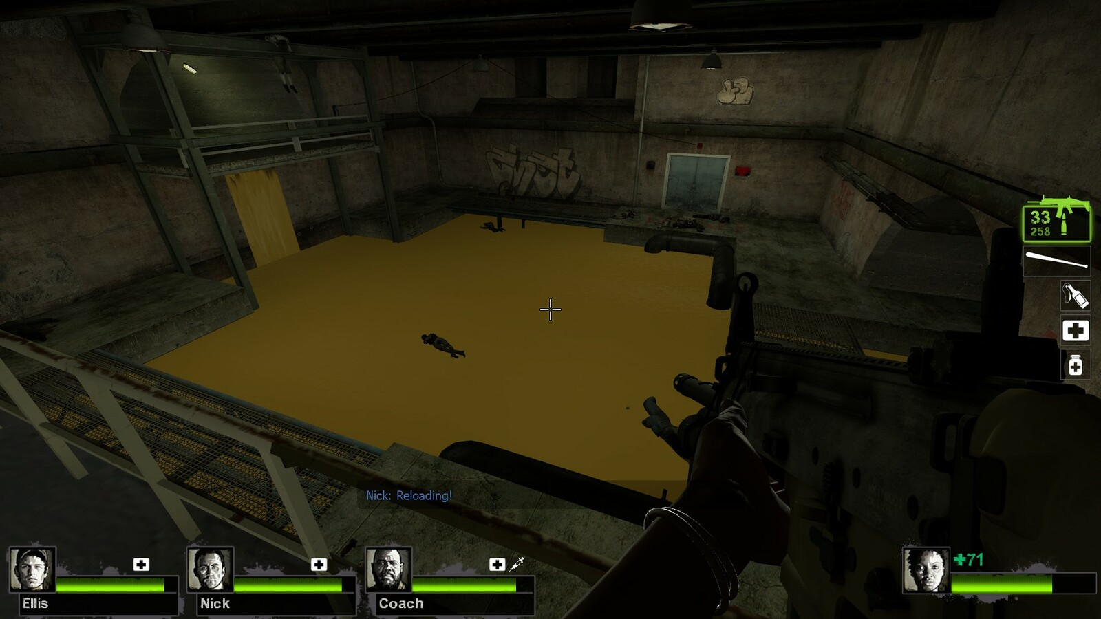 Players will make their way through until they reach this central area. This is where they must fight a tank in this center area