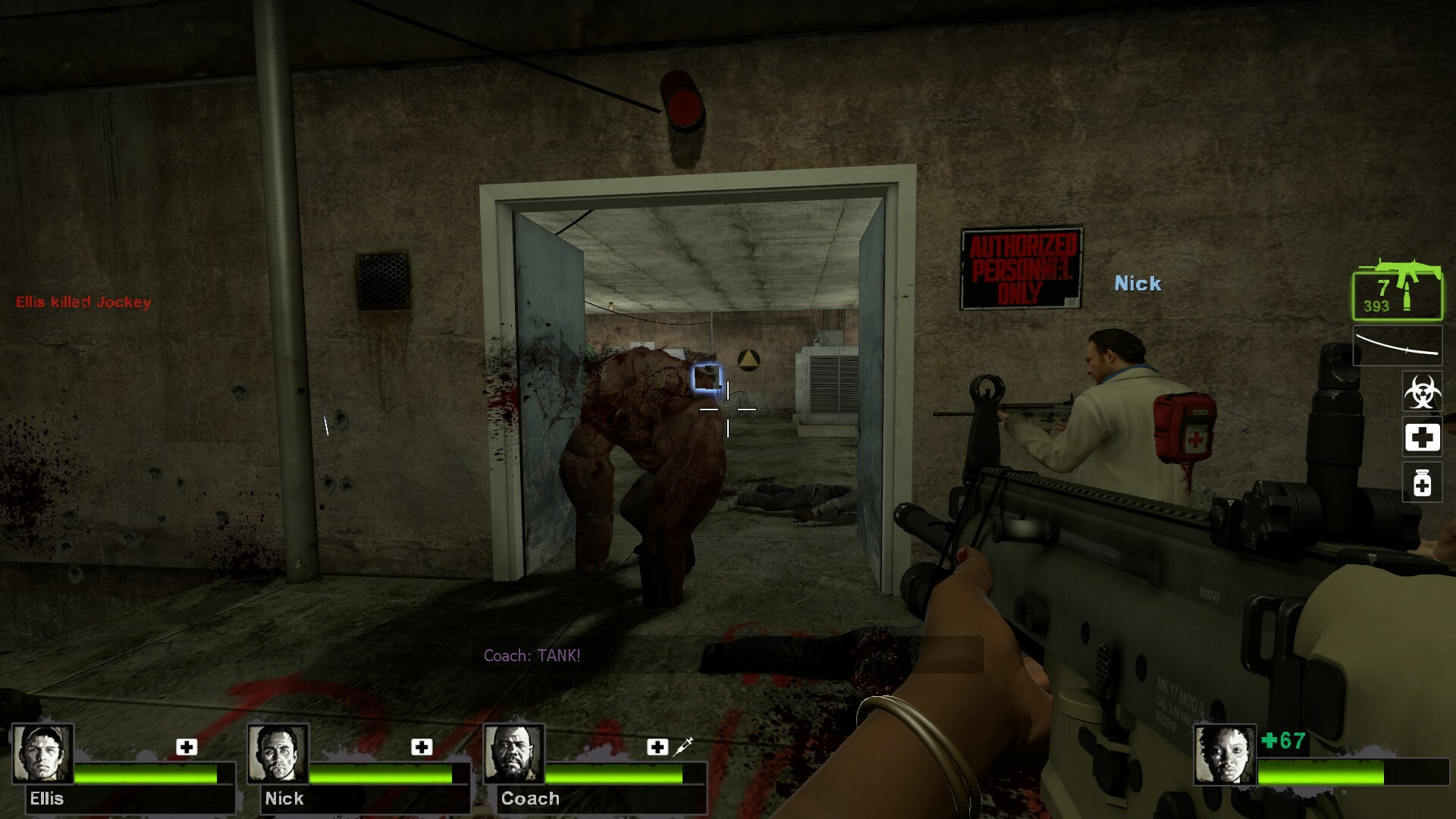 Opening the door will engage in the fight with the Tank. This Tank is scripted to always spawn here.