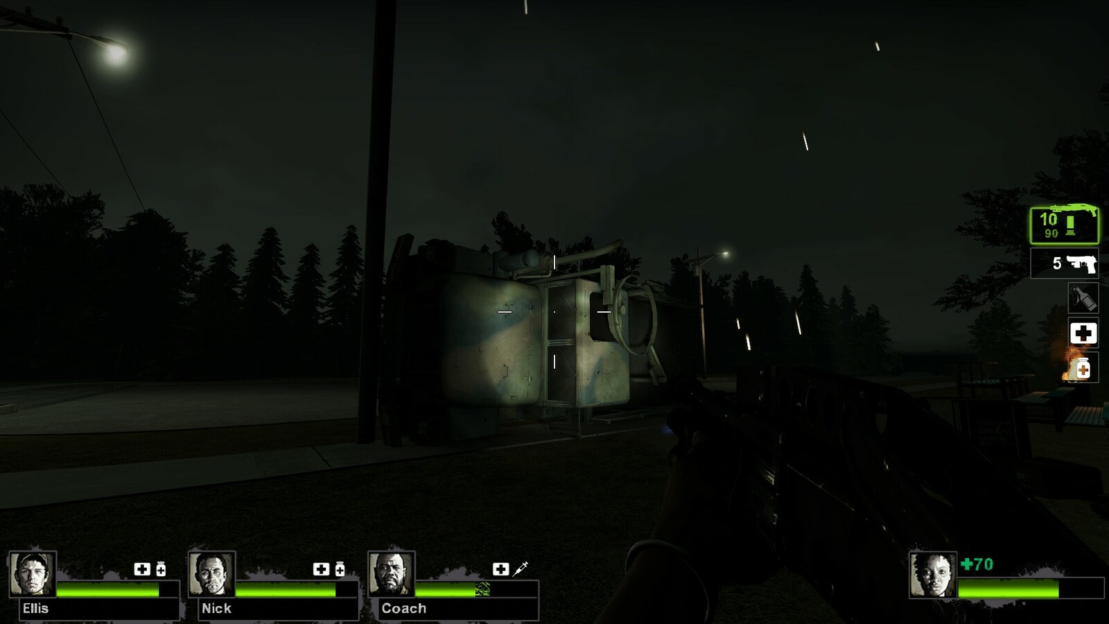 Crashed truck scattered supplies and weapons all around the combat area.