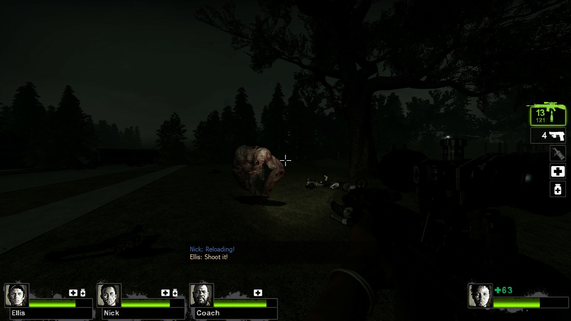 Due to the amount of open space in this level, this fight has a custom scripted finale that spawns two tanks together along with the horde of zombies.