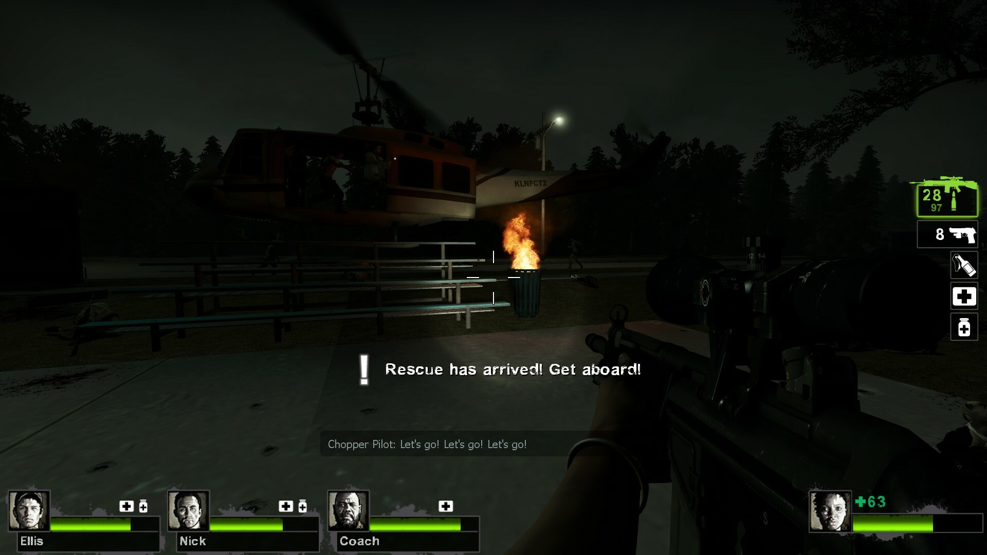 When rescue arrives via helicopter, players must enter to end the level and the campaign.