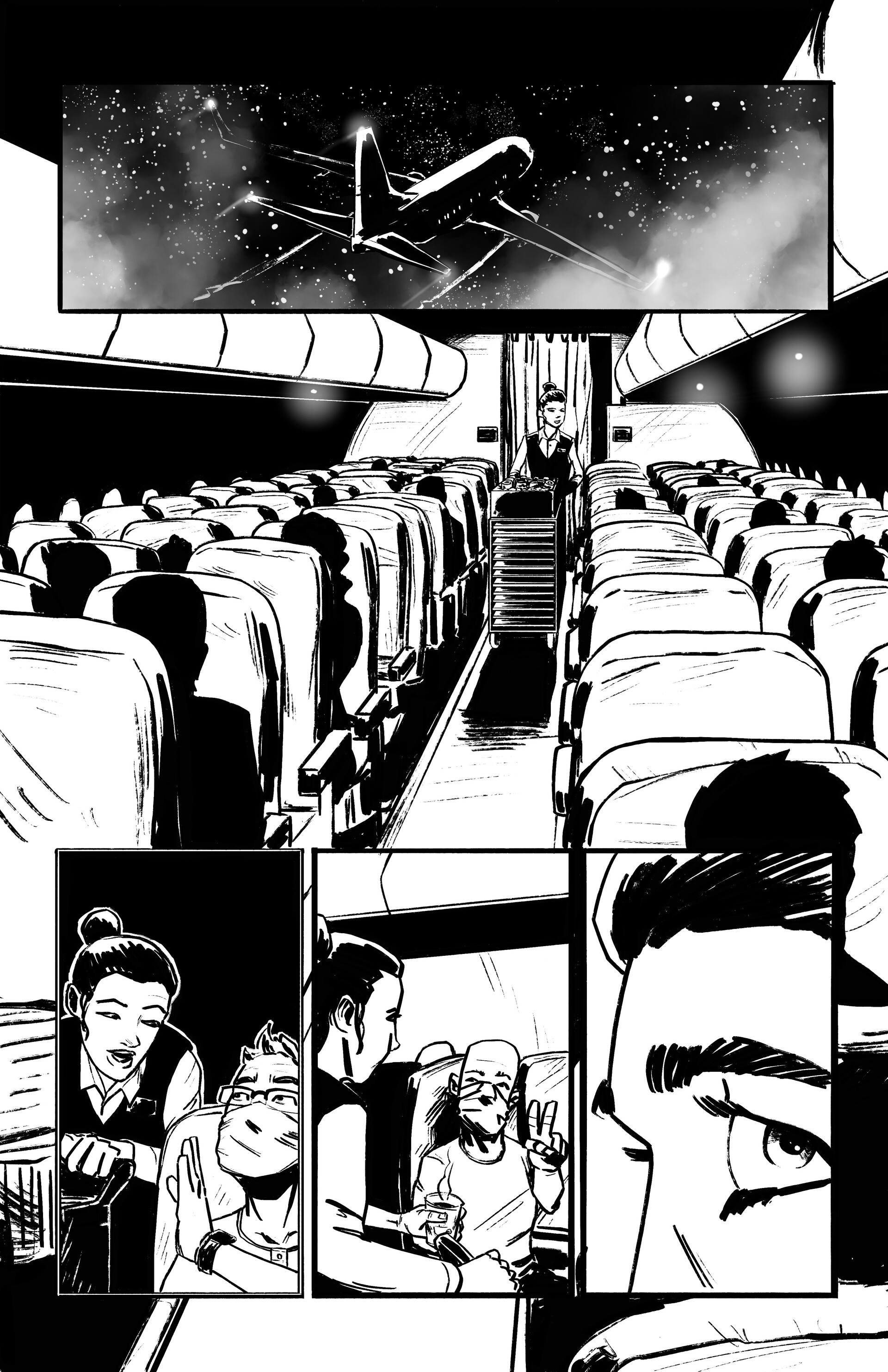 Flight 616: Page 1  - Done in Procreate for the iPad Pro