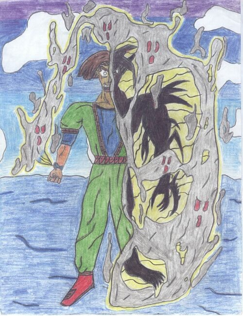 A scenario drawing of Kaiel transforming into Kefal, at will