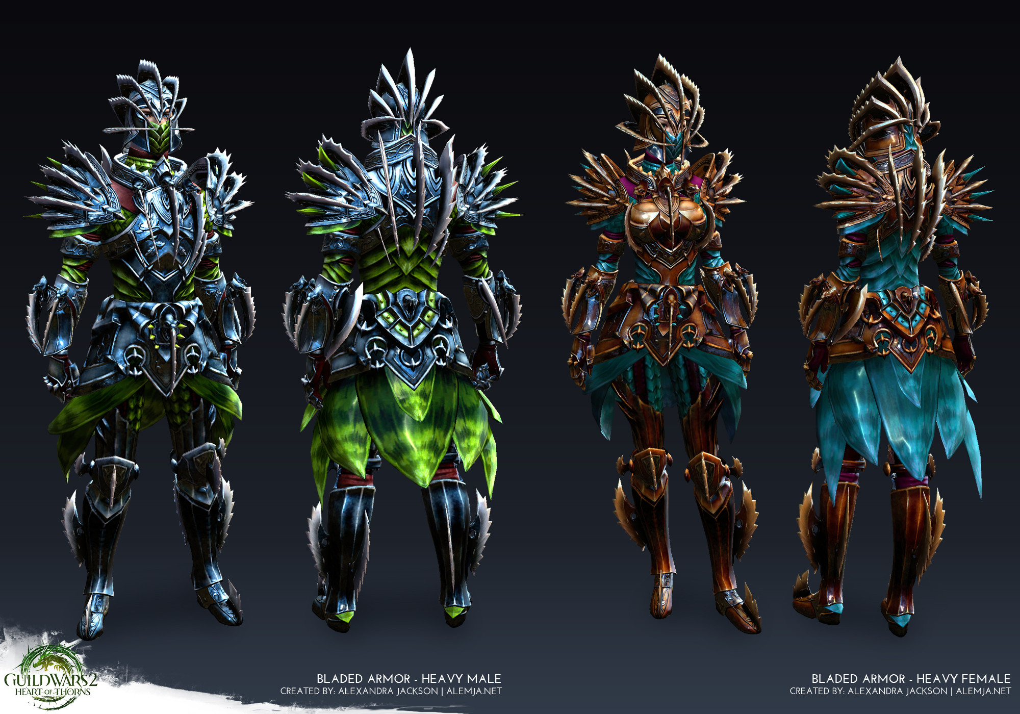 Worked on the armor creating high res hardsurface pieces, the game ready model and texures. I also was in charge of the refit from of the shared pieces from the male body to the female body. This set was for Guild Wars 2 Heart of Thorns