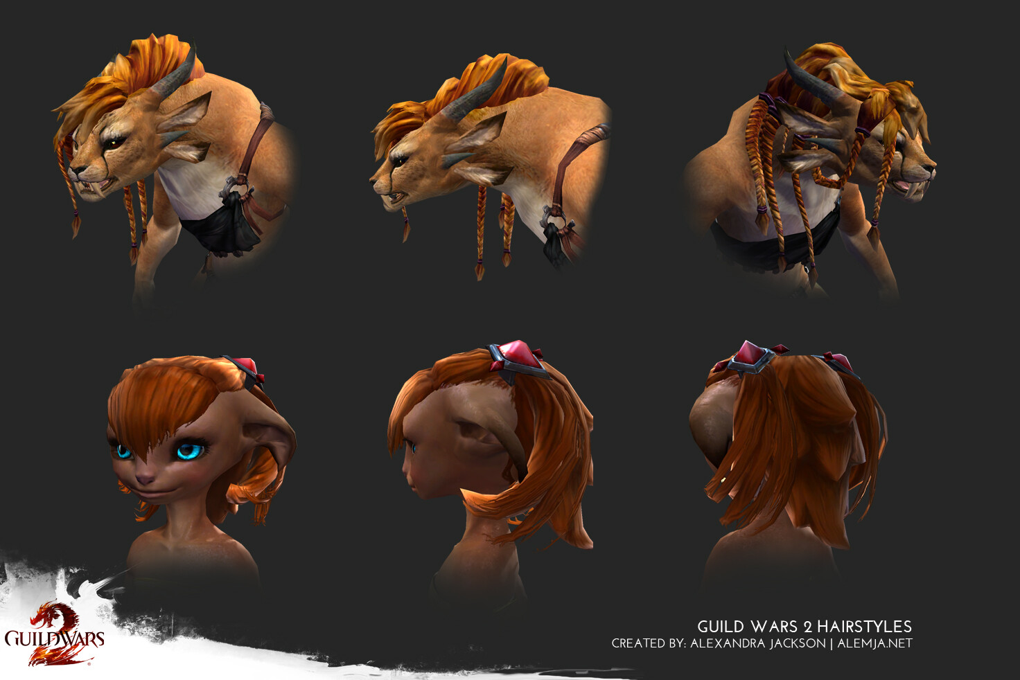 Hairstyles I created for various races that where released for Guild Wars 2. I concepted, sculpted modeled and textured the both of them
