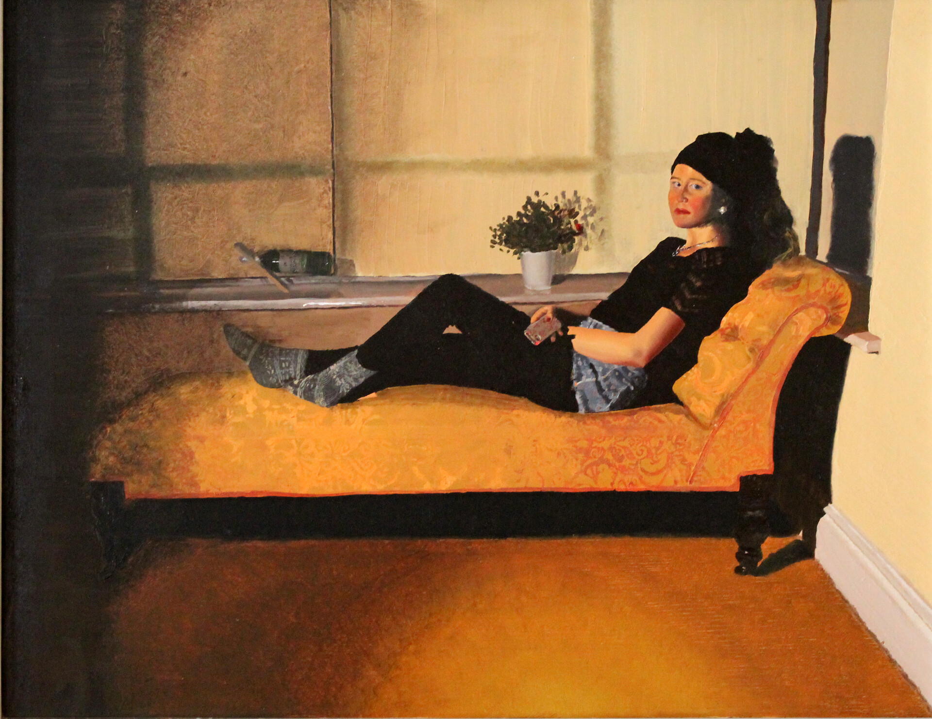 Girl On Chaise Lounge, 2014. Oil on Board.