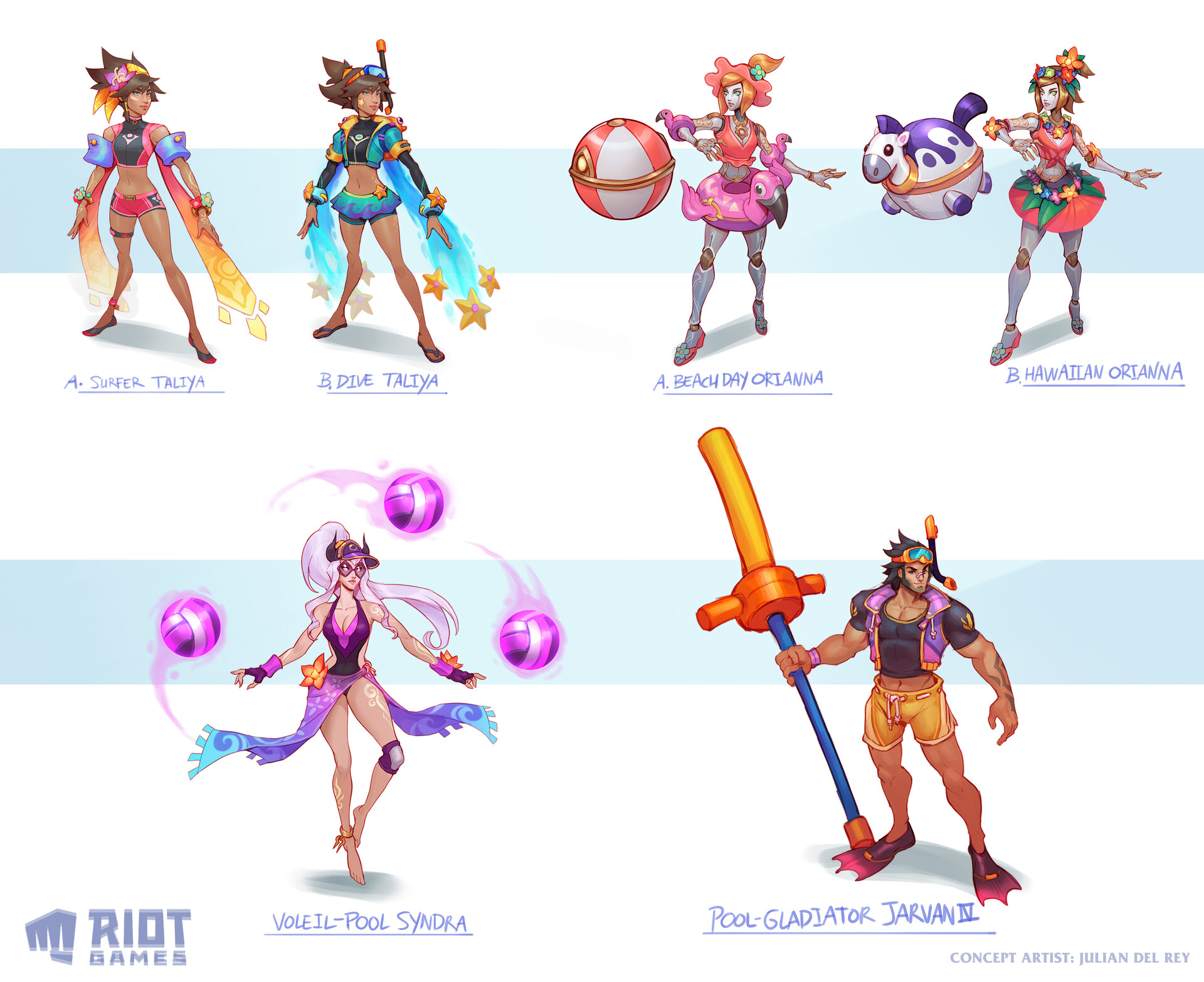 Pool Party skins concept explorations ©Riot Games