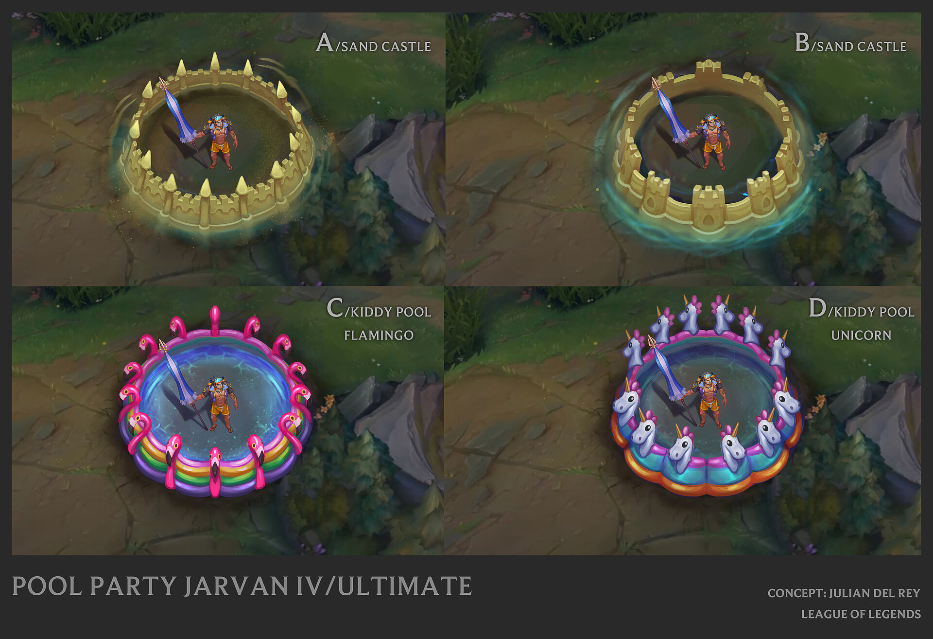 Pool Party Jarvan ultimate vfx concept proposals ©Riot Games