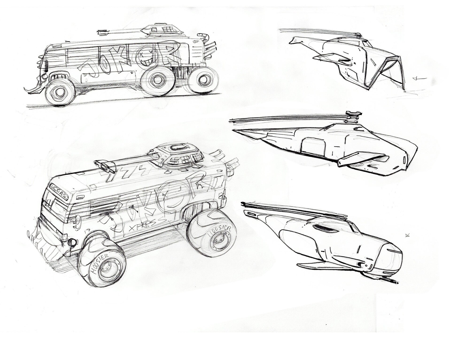 military craft off the black market. The joker mobile is a hijacked bus going to Vegas that was  junkyard welded with various fun and dangerous attachments. See props.