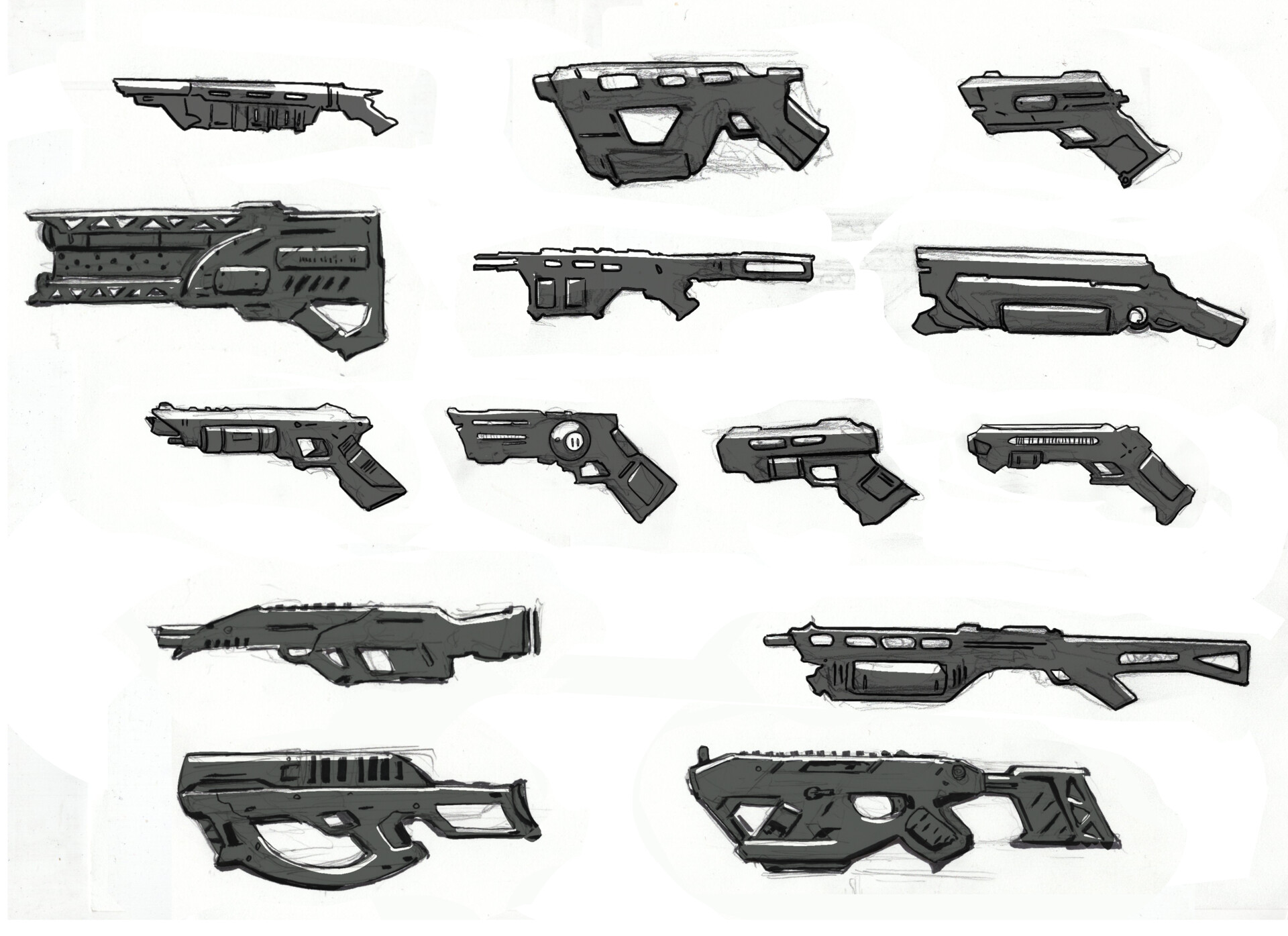 Creating weapon designs based on portable rail gun technology using batteries in place of cartridges. The idea of having exposed coils appealed to me and used that in the final designs. See props.