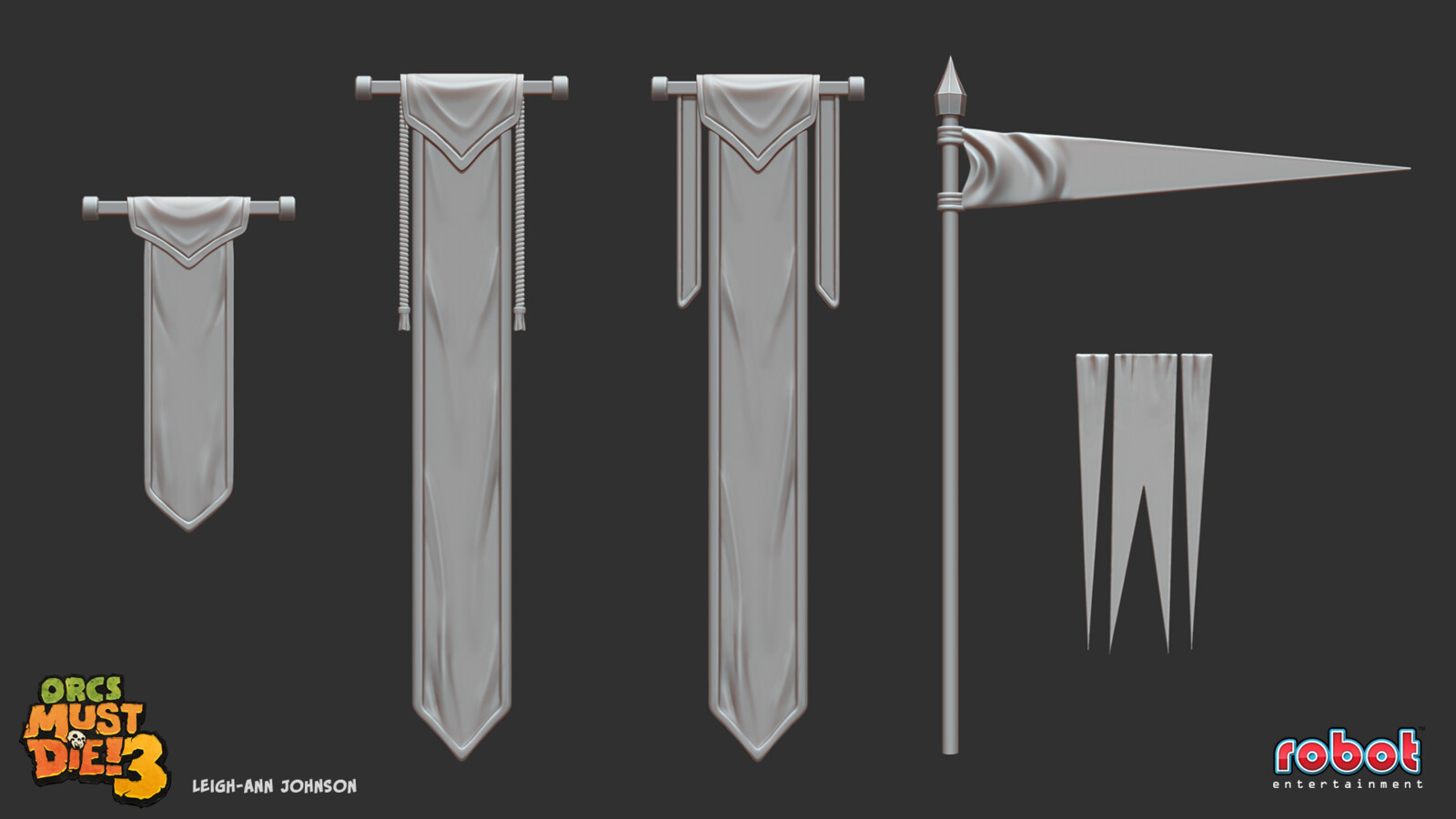 Banner and Flag High Poly Sculpts