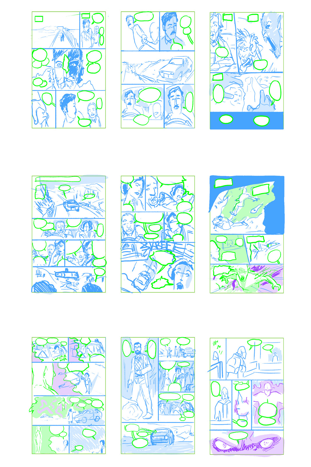 Layout Roughs, Pages 1-9