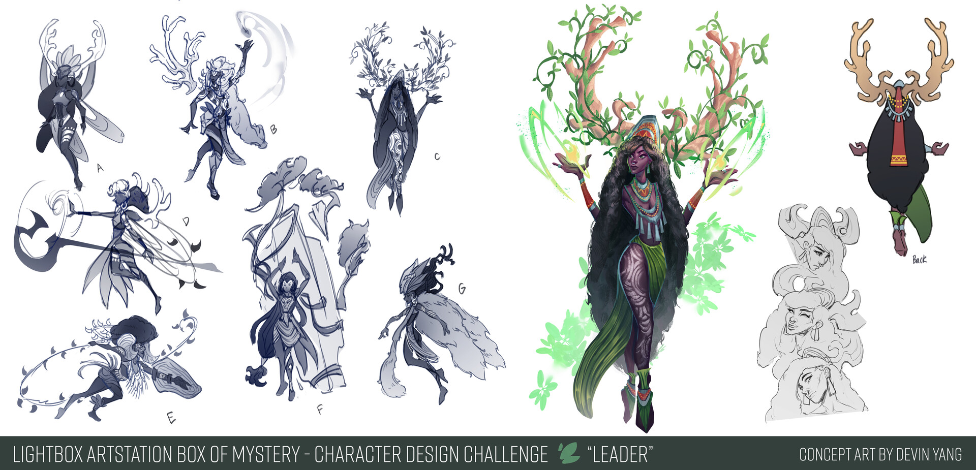 Sketches/exploration + callouts for Leader character