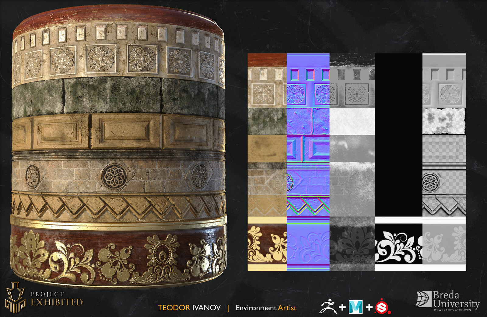 Trim sheet created very early in the production stage to help with texturing some of the ornamental objects in the level. The Limestone material was done by Wouter Bernards.
