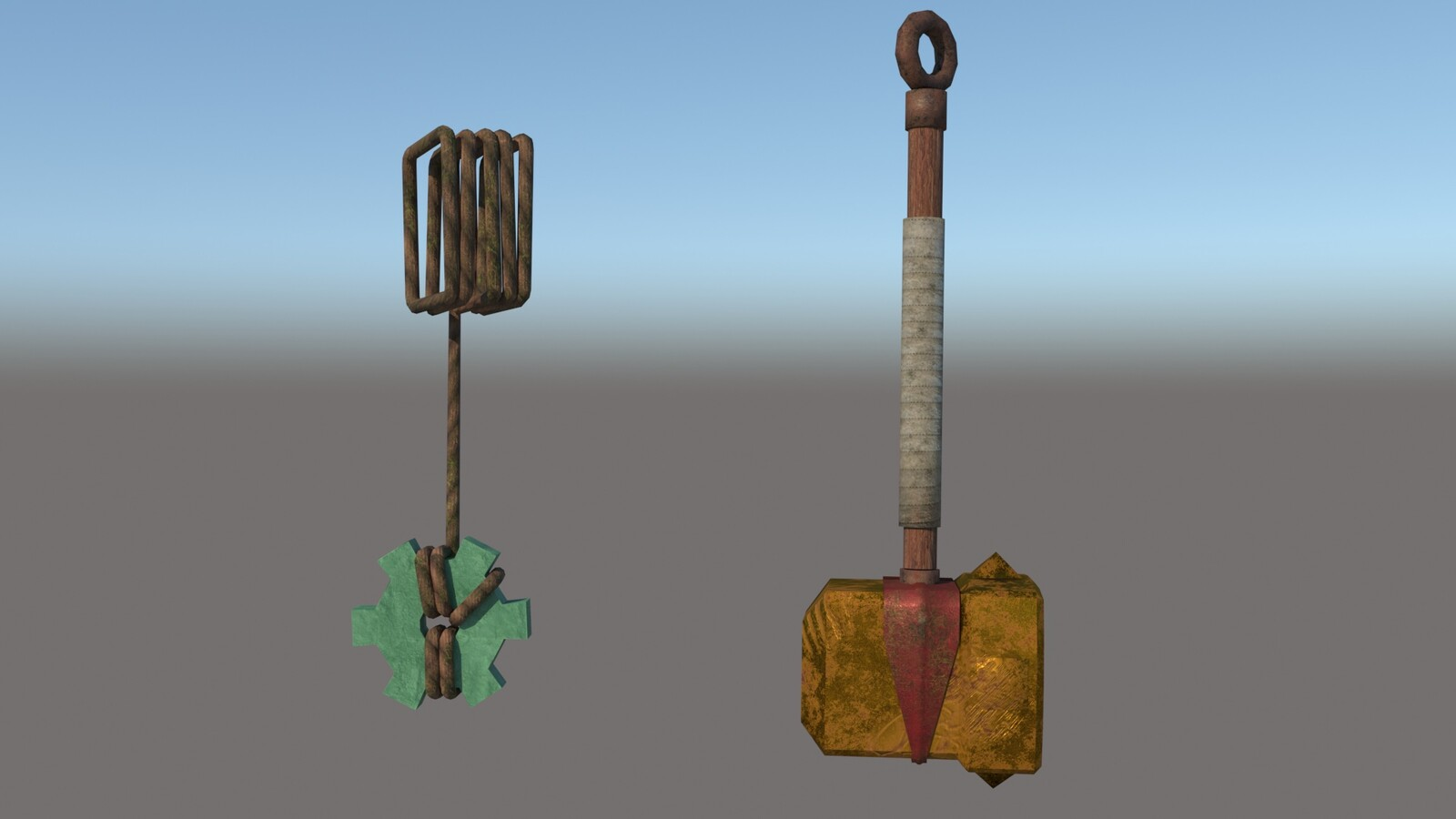 Cael Hammer and Pendulum of the Kid (for the game Bastion) used and rusty