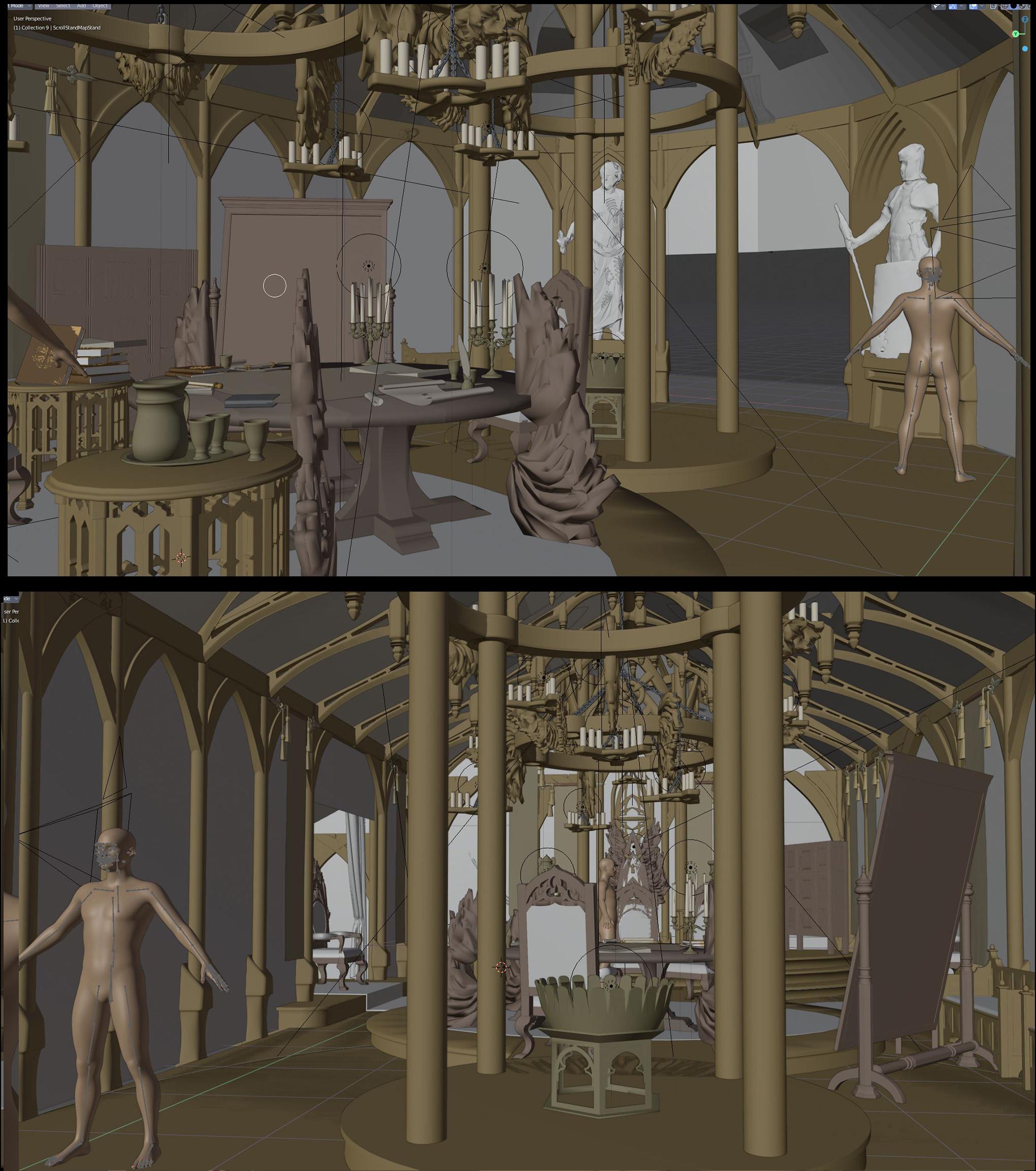 3D interior set dressing