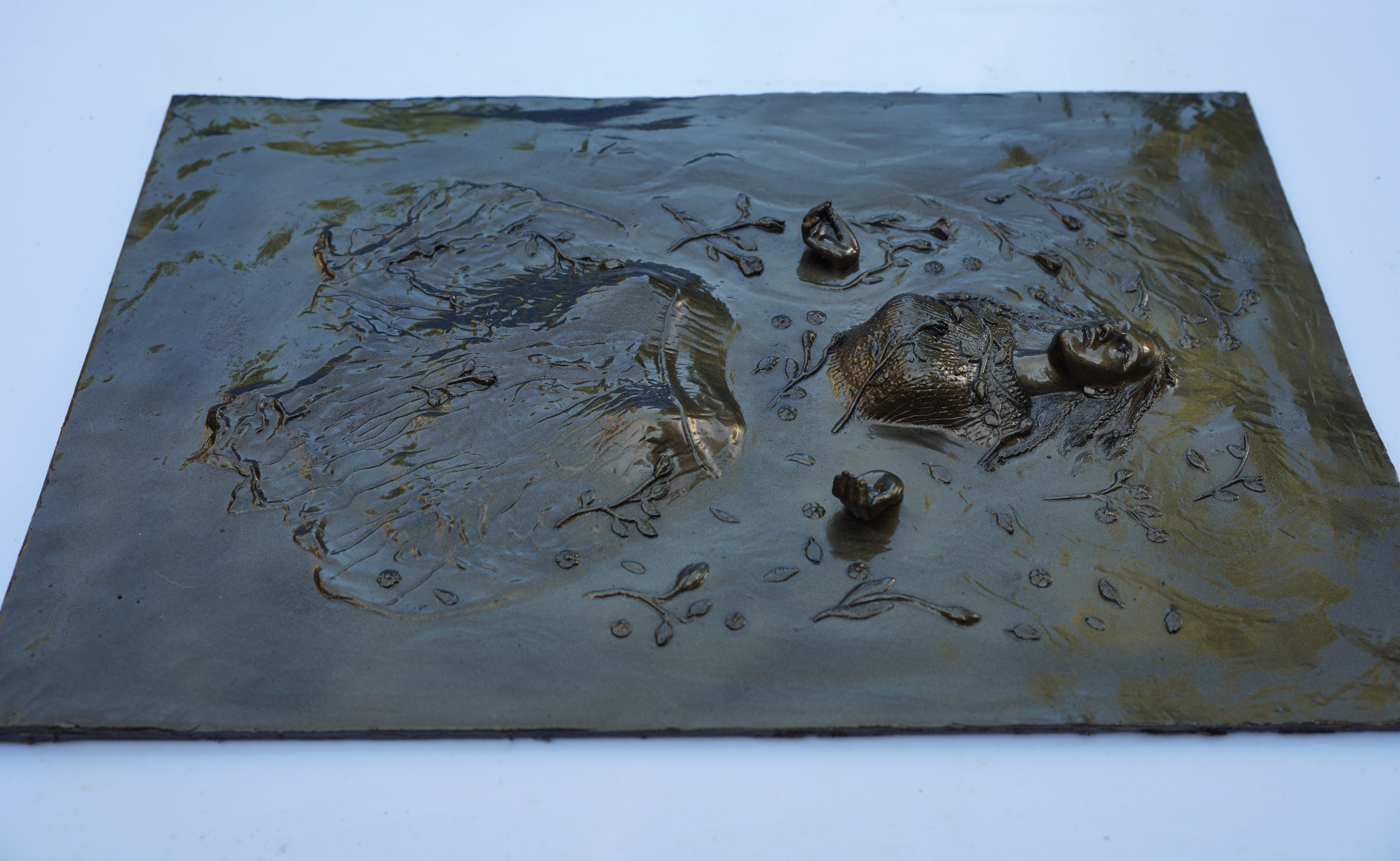 Ophelia base relief sculpture
