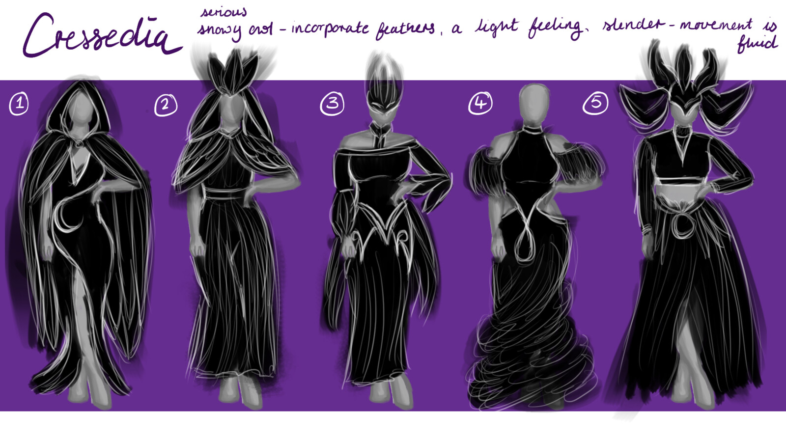 some silhouettes for her possible outfit