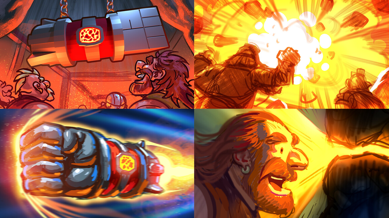 Thumbnails for the bonus transition screen. We wanted to show the dwarves using their new Rocketfist to discover treasure.