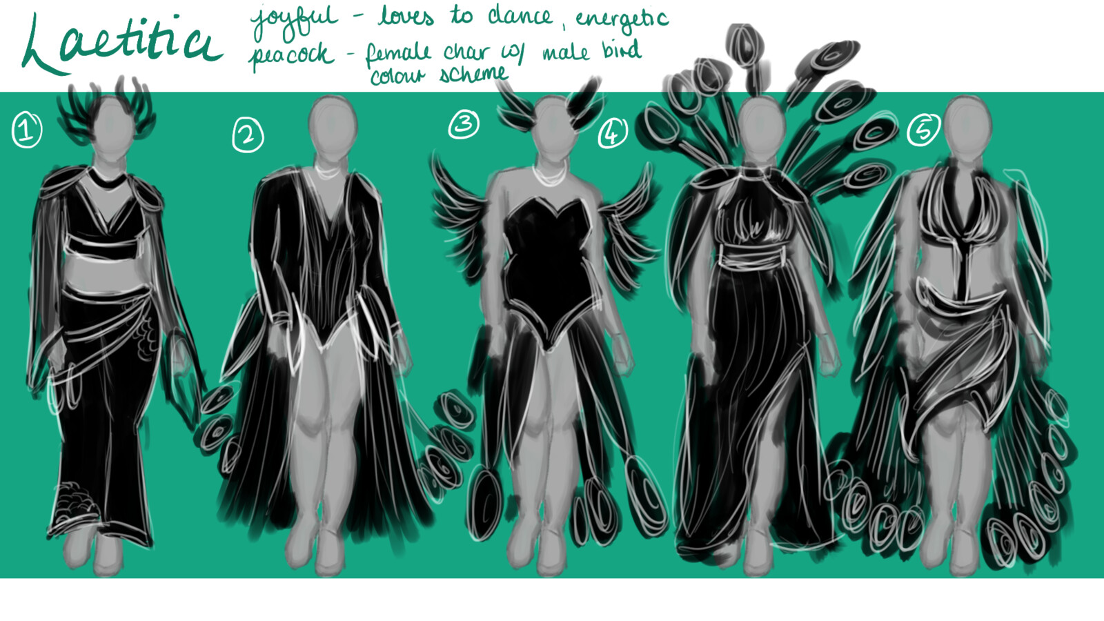 making an outfit she would be able to dance in wasn't the hurdle I faced with silhouettes I had to incorporate the peacock aspect somehow so these are explorations of what could be done