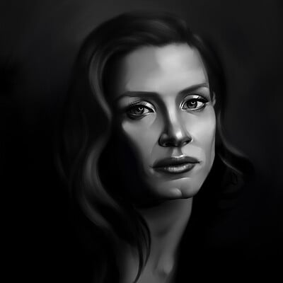 Lee bryan jessica chastain painting by l bryan july 2020