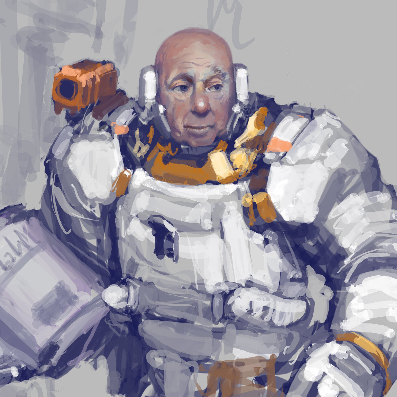 An old astronaut, vaguely inspired by the song 'Rocketship Cathedrals'.