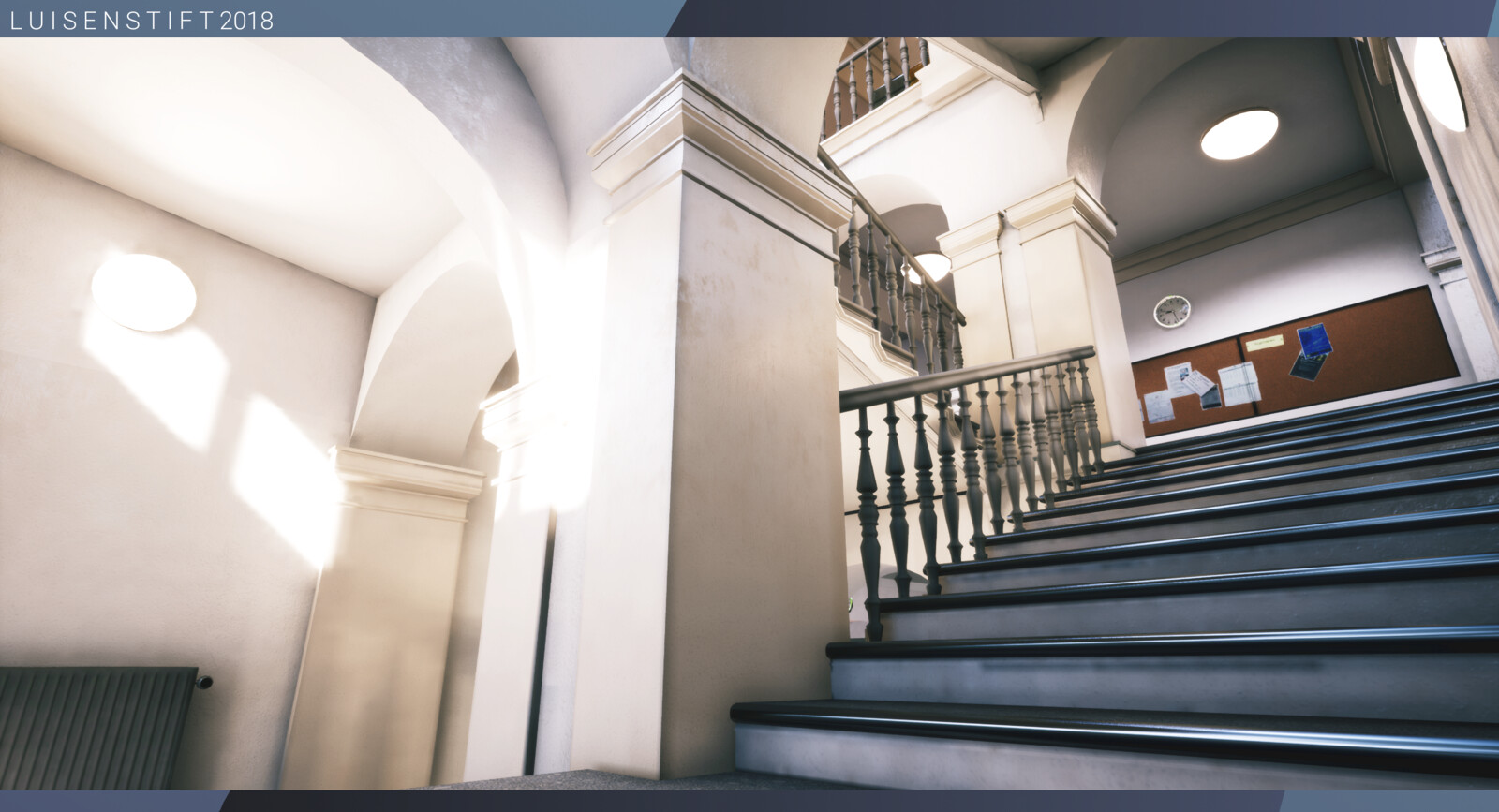 Main staircase, overlooking the first and second floors of the building.