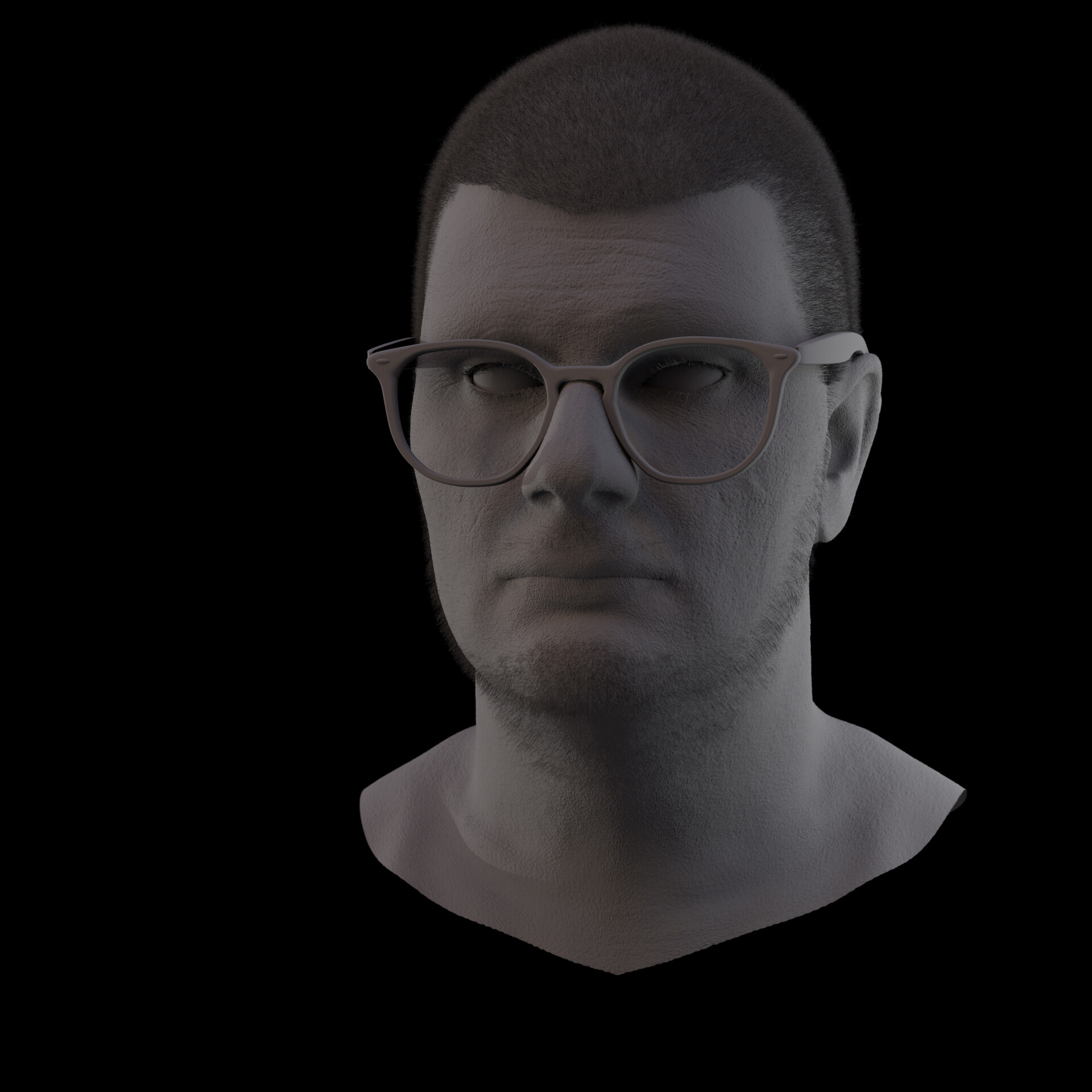 Clay render with Hair and Fur