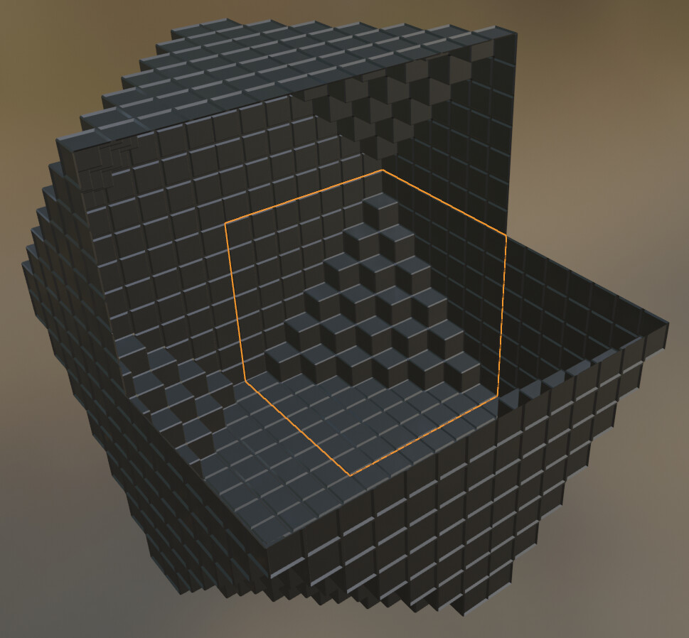 Cross Section of structure made from Beveled cubes and squares in Blender
