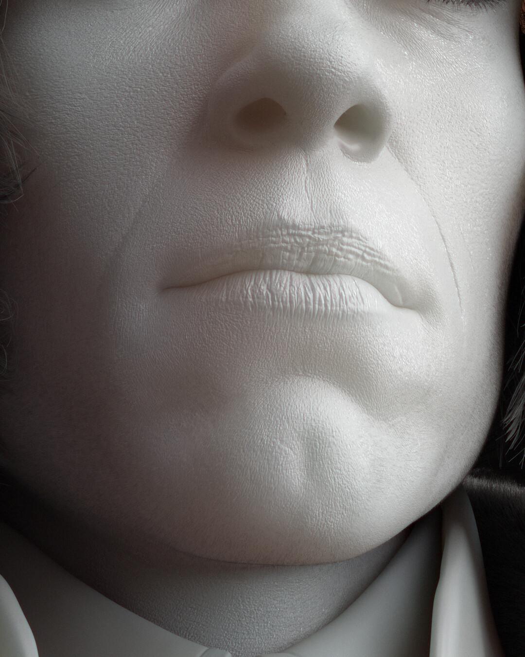 Closeup on face sculpt