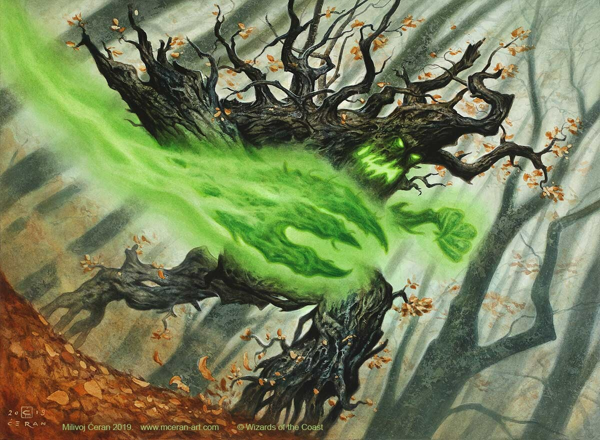 """Burlfist Oak"" Milivoj Ćeran 2019. - 33 x 45 cm (13 x 17,7 inches) - acrylic on paper - © Wizards of the Coast - AD Cynthia Sheppard - Magic the Gathering, ""Core Set 2021"" - private collection"