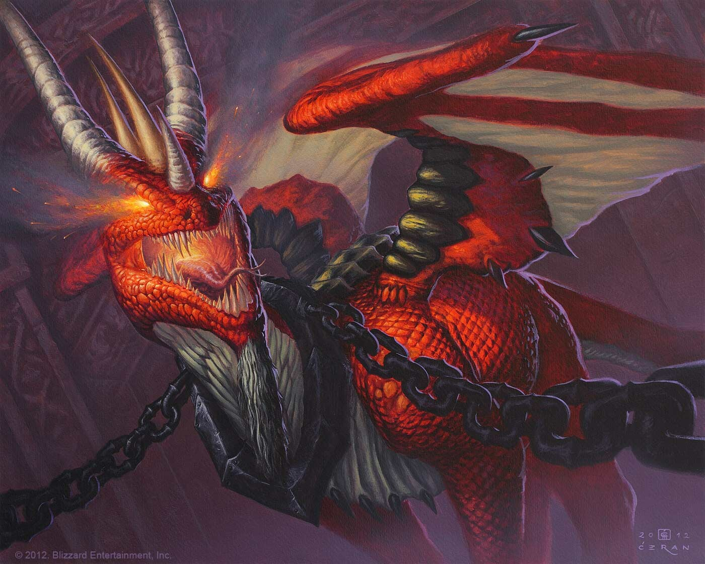 """Enslaved Red Dragon"", Milivoj Ćeran 2012 -  40 x 50 cm  - acrylic and airbrush on paper - © 2012 Blizzard Entertainment, Inc. - private collection"