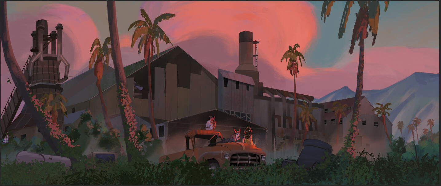 Added the palm trees to better arrange the composition, and to help give more of a sense of the locale.