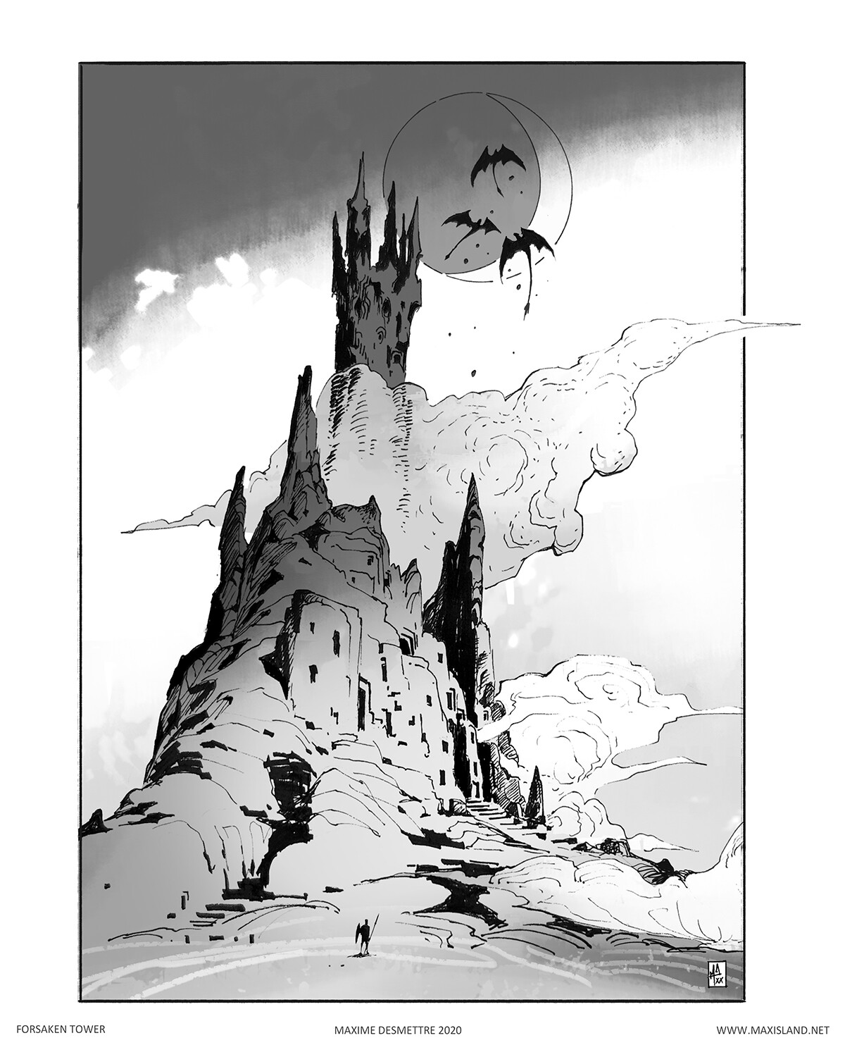 Forsaken Tower Personal study  -  Pen & Digital (2020)