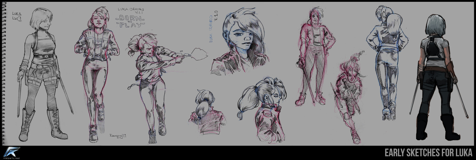 Very early and some of the first sketches for Luka Oshiro.