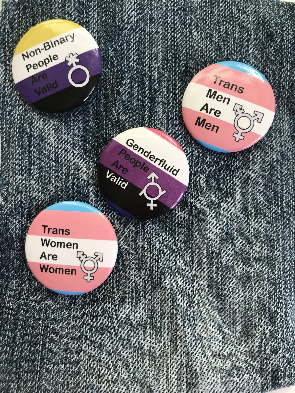 Trans/GNC-positive button designs.