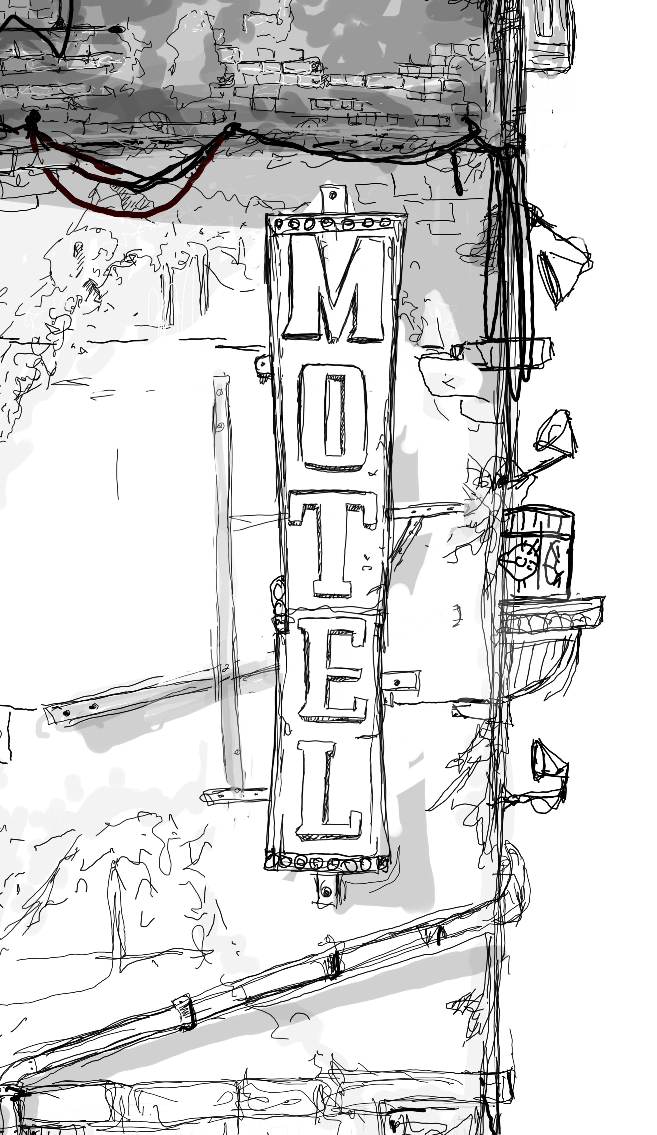 Close-up, the right side Motel Sign lighten with spot lights