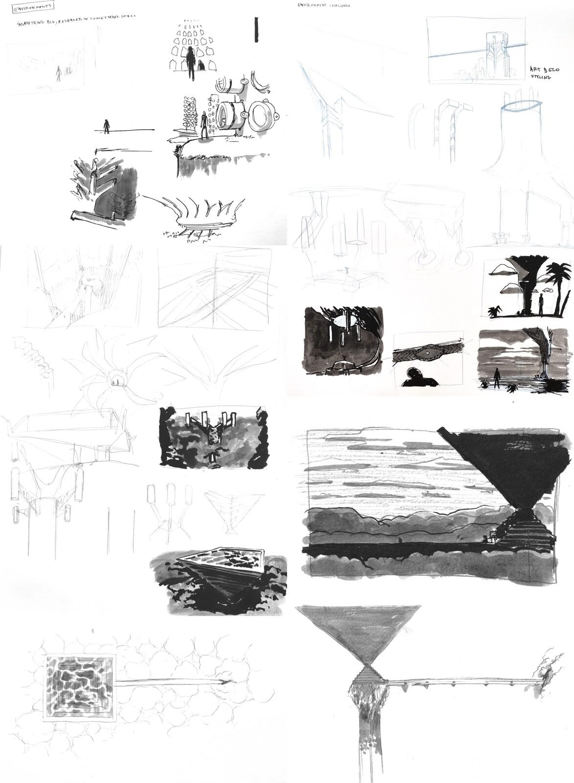 Initial brainstorming sketches