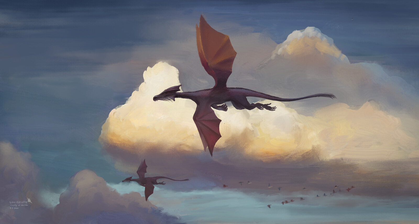 Cloudy at Xander - Flight of Dragons on a Cloudy Sky