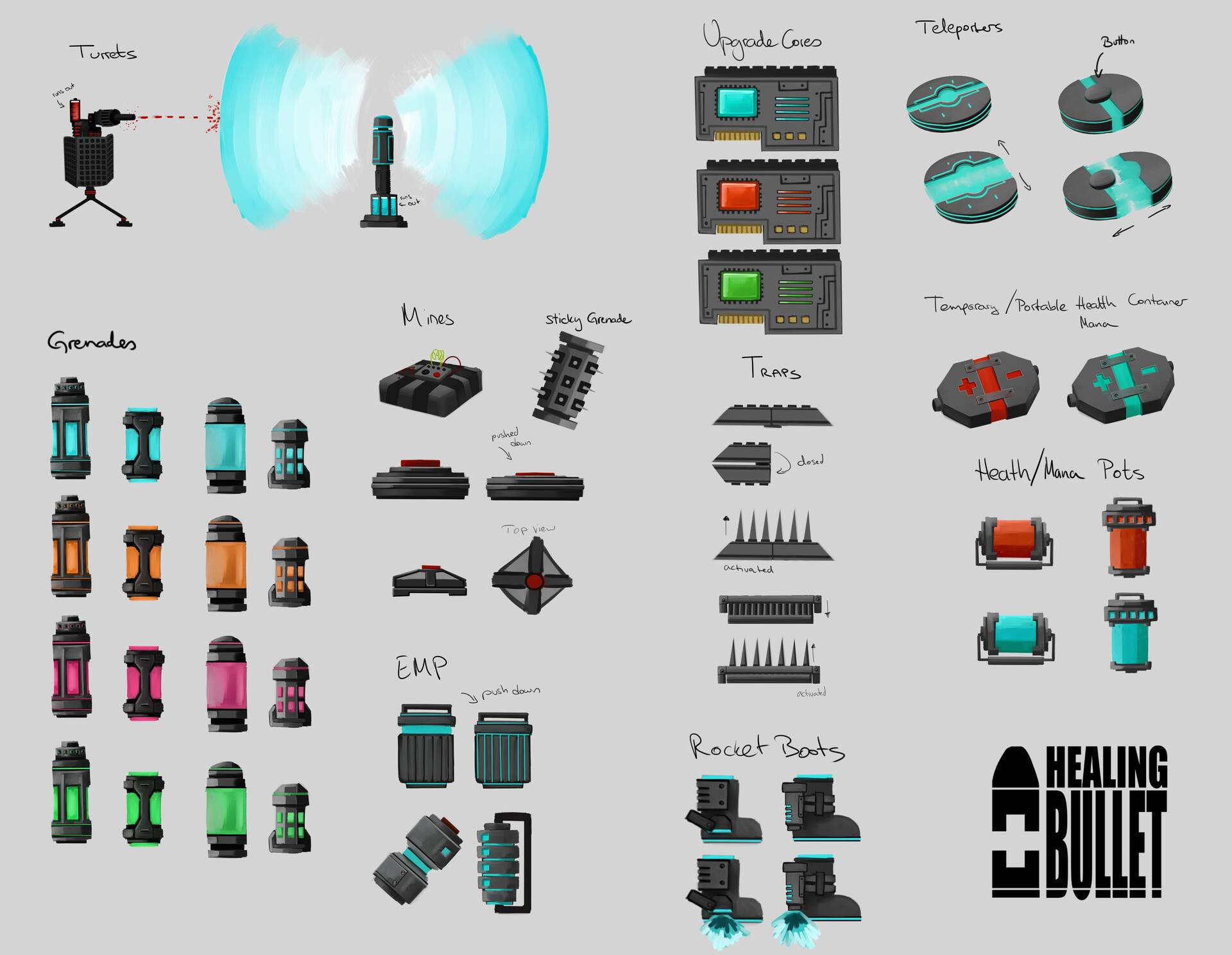 Concept sketches for items