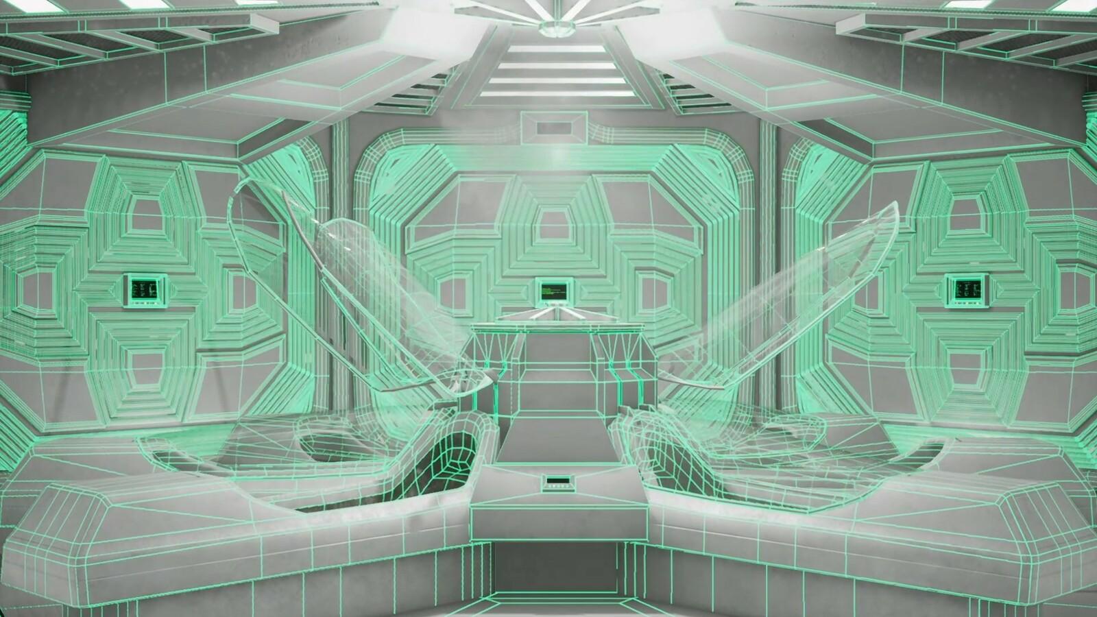 Hypersleep chamber 01 - wireframe