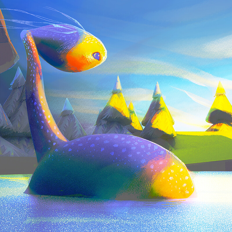 The lake monster - 01 - Overpainting