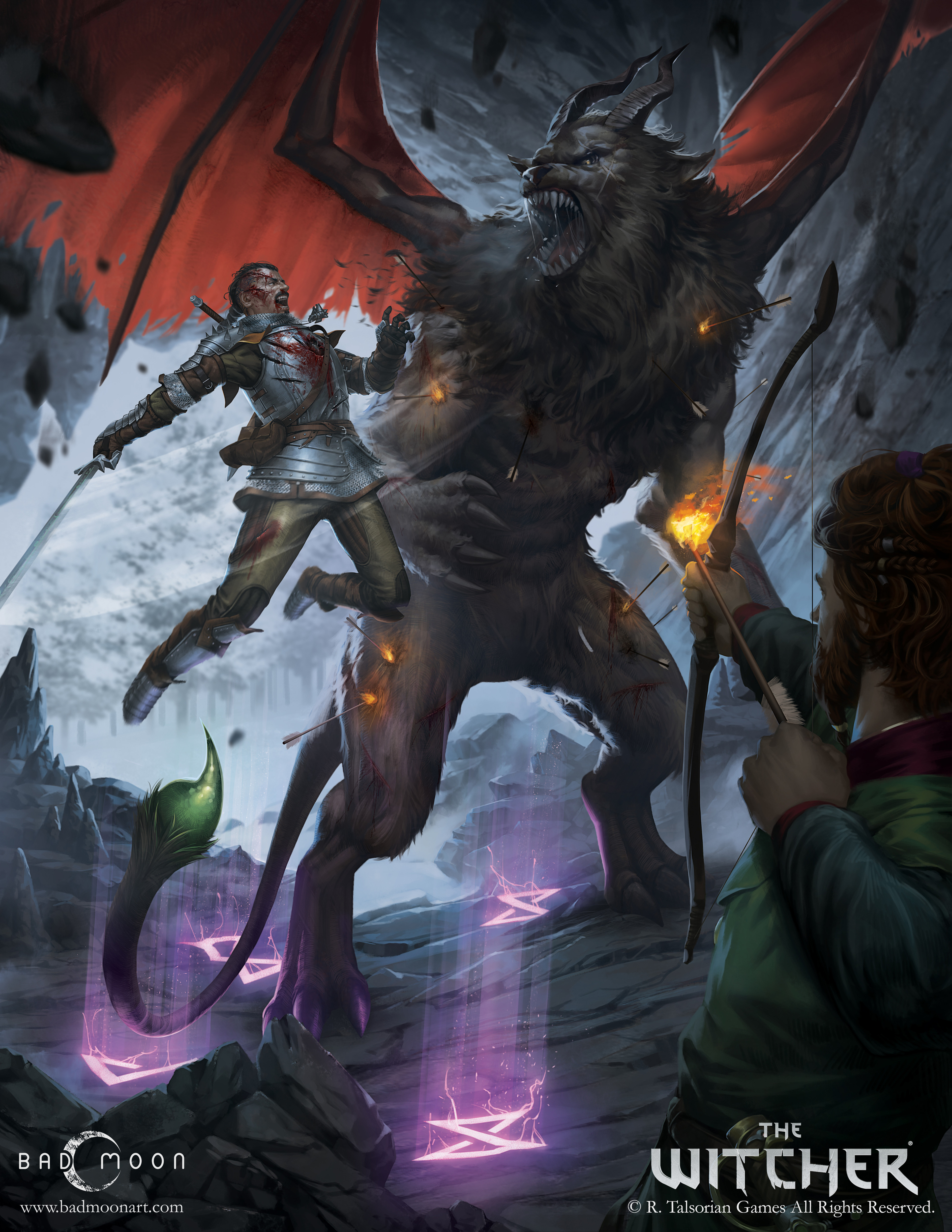Erland of Larvik Fighting a Manticore that nearly took his life as Vaz of Ban Ard assists the Witcher.